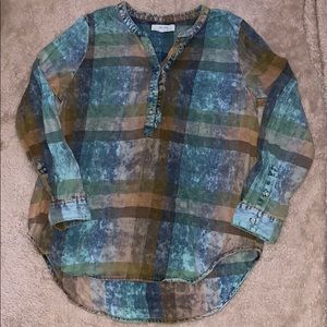 Anthropologie Light Denim Pullover Shirt Size L